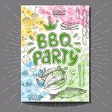 Fastfood colorful modern posters set. Poster BBQ party Barbecue elements, food, steak, sausages, meat, drinks, mustard, mushrooms tomatoes, vegetables, fire Royalty Free Stock Photography