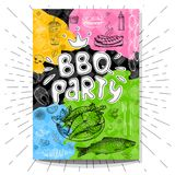 Fastfood colorful modern posters set. Poster BBQ party Barbecue elements, food, steak, sausages, meat, drinks, mustard, mushrooms tomatoes, vegetables, fire Royalty Free Stock Photo