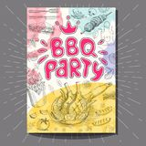 Fastfood colorful modern posters set. Poster BBQ party Barbecue elements, food, steak, sausages, meat, drinks, mustard, mushrooms tomatoes, vegetables, fire Stock Images