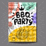 Fastfood colorful modern posters set. Poster BBQ party Barbecue elements, food, steak, sausages, meat, drinks, mustard, mushrooms tomatoes, vegetables, fire Royalty Free Stock Images