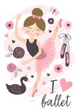 Poster with beautiful ballerina girl. Vector illustration, eps vector illustration