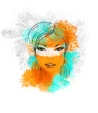 Poster with Beautiful Girl cyan orange decoration Stock Photo