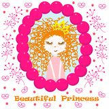 Poster with beautiful princess - vector, illustration, eps. Cute poster with a princess in a mirror on a background of flowers vector illustration