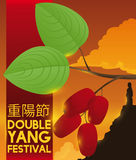 Dogwood and Man over Mountain Silhouette in Double Yang Festival, Vector Illustration Royalty Free Stock Photography