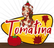 Beautiful Woman over Greeting Sign and Tomato Celebrating Tomatina Festival, Vector Illustration. Poster with beautiful young woman over greeting sign and tomato Stock Images