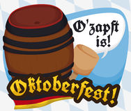 Poster with Beer Barrel and Mallet Ready for Oktoberfest Celebration, Vector Illustration. Traditional beer barrel ready to be opened with the mallet in Stock Photo