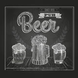 Poster with Beer. Chalk drawing Stock Photo
