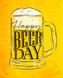 Poster beer day yellow Stock Photography
