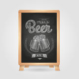 Poster with Beer in mag. Chalk drawing on blackboard Royalty Free Stock Images