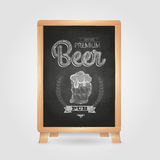 Poster with Beer in mag. Chalk drawing on blackboard Royalty Free Stock Image