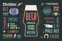 Poster Beer Makes Everything Better. Poster or banner with text Beer Makes Everything Better and names types of beer. Colorful graphic design for print, web or Stock Image
