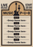 Poster for the beer pub with live music Stock Image