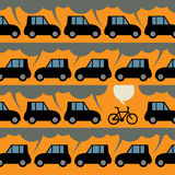 Poster with bicycle and traffic Royalty Free Stock Photo