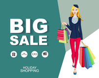 poster Big sale with icons. Shopping wonan model. Royalty Free Stock Image
