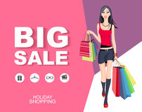 Poster Big sale with icons. Shopping wonan model. Royalty Free Stock Images