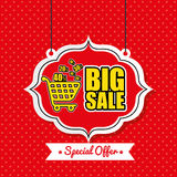 Poster big sale shop cart vintage red polka dot. Vector illustration eps 10 Royalty Free Stock Image