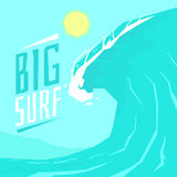 Poster big surf with big wave and the sun. Vector illustration in cartoon style Royalty Free Stock Photo