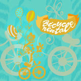 Poster Bike rental. Poster bicycle rental. The picture in a gold labeled on turquoise background Stock Photography