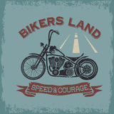 Poster bikers land with motorbike Royalty Free Stock Photo