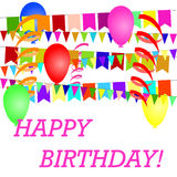 A poster with a birthday with balls Royalty Free Stock Images