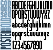 Poster black bold condensed font and numbers. Education symbols Royalty Free Stock Photo