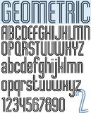 Poster black geometric binary stylish font. Stock Images