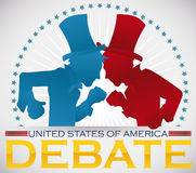 Poster with Blue and Red Silhouettes for Traditional Parties Debate, Vector Illustration. Commemorative poster for the America's presidential debate with Stock Photo