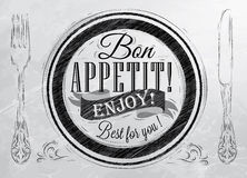 Poster Bon appetit. Coal. Bon appetit! enjoy! Best for you lettering on a plate with a fork and a spoon on the side in retro style drawing with coal Royalty Free Stock Photography