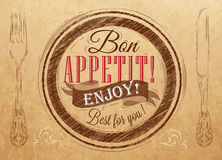 Poster Bon appetit. Kraft paper. Bon appetit! enjoy! Best for you lettering on a plate with a fork and a spoon on the side in retro style drawing on kraft paper Stock Photography