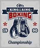 Poster with boxing gloves in retro style Royalty Free Stock Image