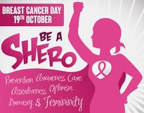 Female Super Hero Conquering Breast Cancer in October, Vector Illustration royalty free illustration