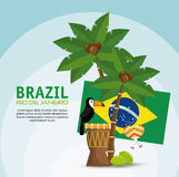 Poster brazil macaw drum palm flag Stock Photography