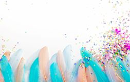 Feathers for a carnival costume. Colored confetti. White backgro. A poster for a Brazilian carnival, a party or a bachelorette party Stock Image