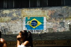poster with a brazilian flag and stock photo