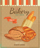 Poster with bread, baton, french baguette, bun, baton and pretzel. Vintage style. Stock Photo