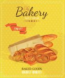 Poster with bread, baton, french baguette, bun, baton and pretzel. Vintage style. Stock Images