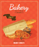Poster with bread, baton, french baguette, bun, baton and pretzel. Vintage style. Royalty Free Stock Images
