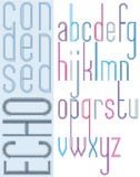Poster bright echo condensed font, striped lowercase letters Royalty Free Stock Photography