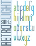 Poster bright retro condensed font, striped lowercase letters Royalty Free Stock Image