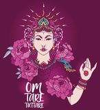 Poster with buddhist mantra `om tare tuttare` and beautiful female goddess. Bohemian royal asian woman in crown and peonies flowers, poster with buddhist mantra Stock Images