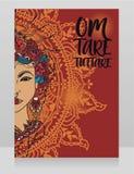 Poster with buddhist mantra `om tare tuttare` and beautiful female goddess Tara royalty free stock photo