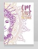 Poster with buddhist mantra `om tare tuttare` and beautiful female goddess Tara stock photos
