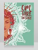 Poster with buddhist mantra `om tare tuttare` and beautiful female goddess Tara royalty free stock images