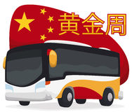 Poster with Bus Design Ready  for Chinese Golden Week Break, Vector Illustration Royalty Free Stock Image