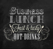 Poster Business lunch. Chalk. Business lunch chalk board with text business lunch every day hot drinks stylized for chalk drawing Stock Images