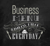 Poster Business menu. Chalk. stock illustration