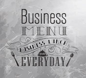 Poster Business menu. Coal. Business lunch chalk board with text business lunch every day hot drinks stylized for coal drawing Royalty Free Stock Images