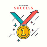 Poster Business Success. Modern flat graphics, Gold medal on white background Stock Images