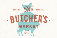 Poster for butcher market. Cow, pig, hen stand on each other Royalty Free Stock Images