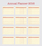 Poster Calendar for 2016. Annual planner for year 2016. Week Starts Monday. Simple Vector Template, Set of 12 Months Stock Photography